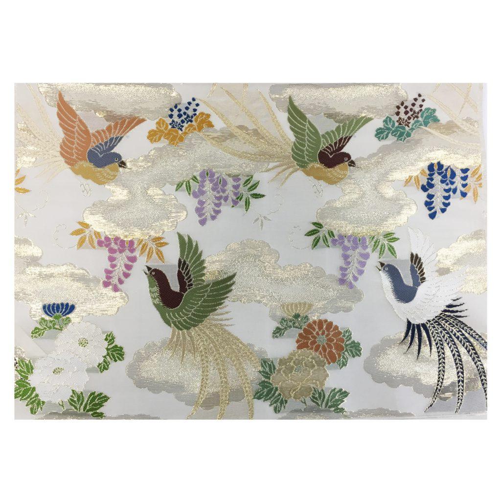 夏用 白茶色金紗地 金霞雲に藤牡丹極楽鳥模様 七条袈裟