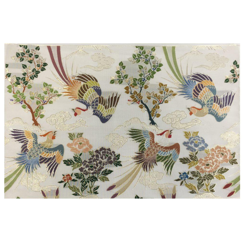 夏用 白茶色金紗地 菩提樹と牡丹に極彩色鳳凰模様 七条袈裟