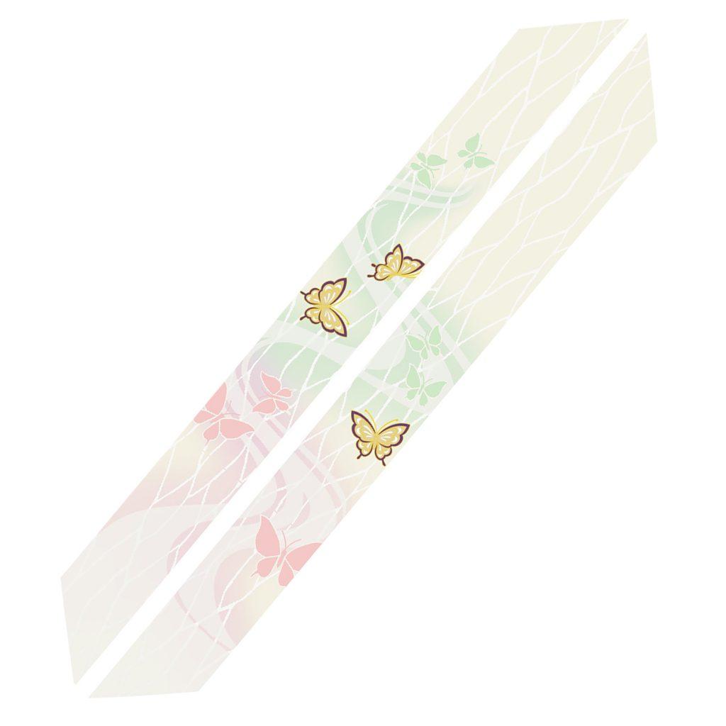 白茶地流水花蝶模様 輪袈裟(※本願寺派の仕様ではございません)